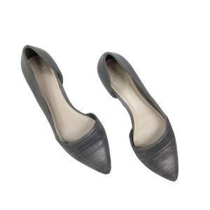 Cole Haan Gray Silver Pointed Toe Flats
